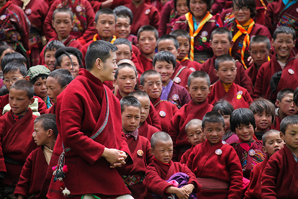 His Majesty with the students of Sakteng Lower Secondary School