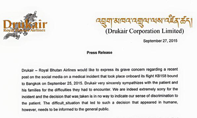 Drukair's press release