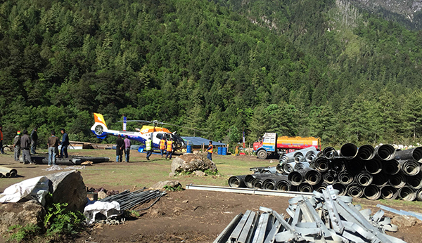 Bhutan Helicopter Services undertakes lifting operation