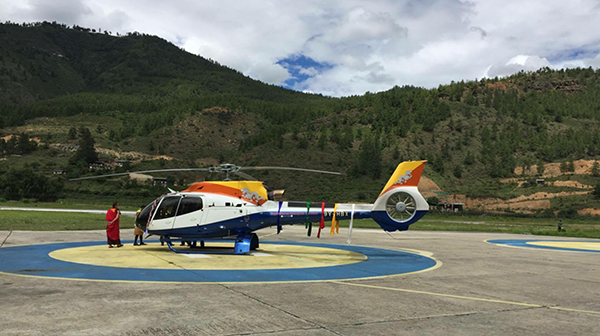 Bhutan's second chopper lands