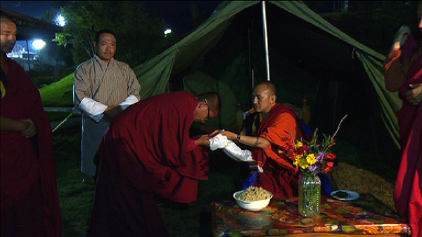 Organisers of a religious ceremony donate