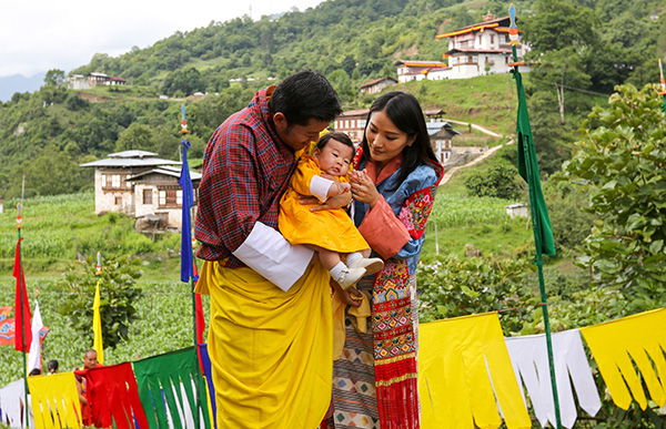 Their Majesties visit Dungkhar with HRH Gyalsey