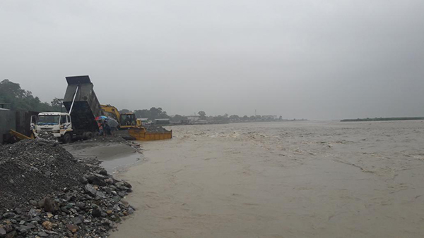 Settlement along Amochhu flooded