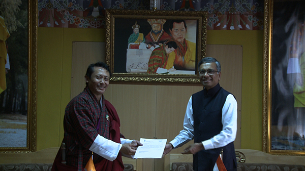 GoI hands over Nu 15 M to RCSC for Nehru-Wangchuck Scholarship-