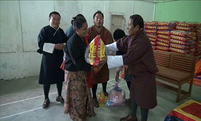 His Majesty grants food items to flood victims of Sarpang-