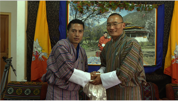 PDP's candidate, Tshering with the Prime Minister