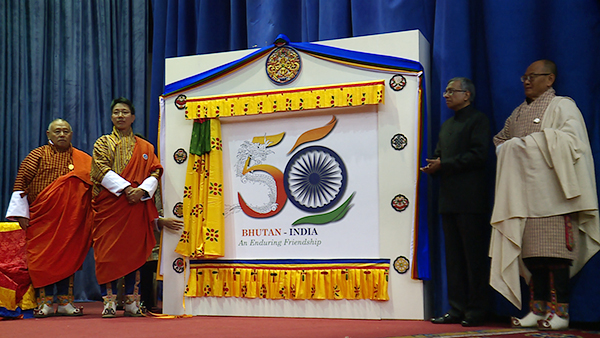 bhutan amp india jointly unveil special logo to mark 50